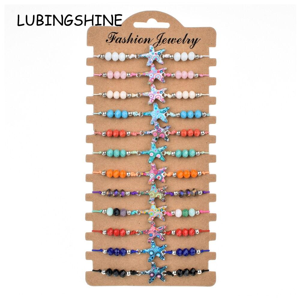 LUBINGSHINE 12pcs/Sets Women Crystal Beads Bracelet Braided