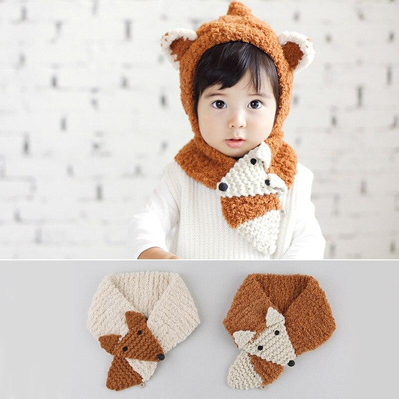 Godier Cotton Knitting Baby Hat + Scarf Set Newborn Cap Crochet Warm Baby Beanie Cute Girl Boy Children Hat F size for 0-24M