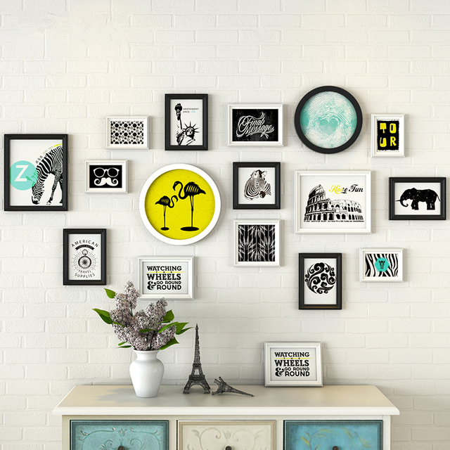 Nordic Style 16pcs/Set Home Decoration,Wooden Photo Frame,Picture Frames  For Wall