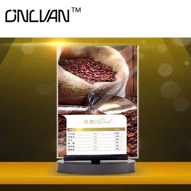 ONLVAN Pcslot Restaurant Menu Covers Advertising Display Coffee - Table top for restaurant supply