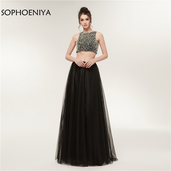 New Arrival Black Evening dresses 2020 Backless Sexy two piece evening dress Robe soiree dubai robe de soiree Evening gowns