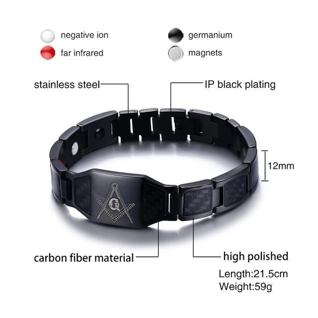 Carbon Fiber Masonic  Magnetic Bracelet