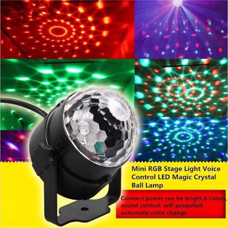 Мини свет для сцены RGB голос Управление Светодиодный Волшебная лампа с хрустальным шаром вращения лазерные лучи KTV Свадебные номера Бар Рождество вспышки света