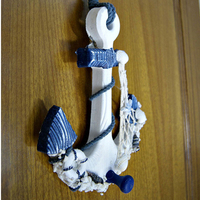 Mediterranean Style Wood Anchor Ornament Nautical Decor Hanging Crafts Art Wall Hanging Hook Home Room Office Decoration Gift