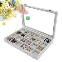 24 Grid Jewelry Tray Showcase Display Storage Jewelry Box with Clear Lid