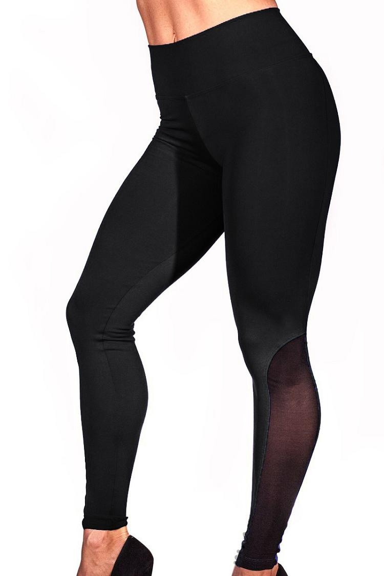 2018 Leggings Women Mesh Splice Tights Fitness Slim High Waist Black Scrunch Legging Sportswear Clothing Gym Leggings Tracksuit 6