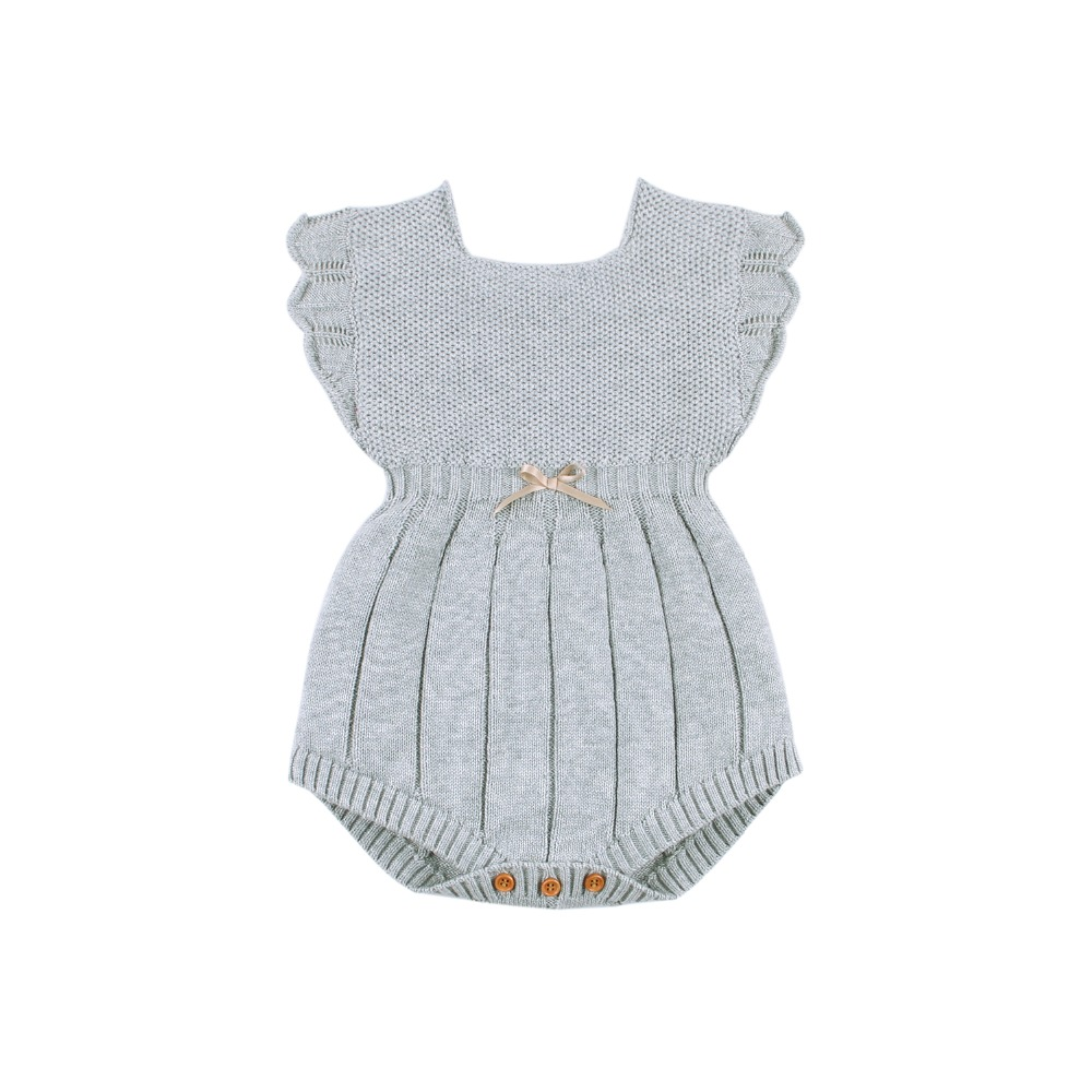 Newborn Baby Bodysuits Solid Grey Knitted Infant Girls Sleeveless Onesie Jumpsuits Outfits Autumn Winter Children Costumes 0-18M