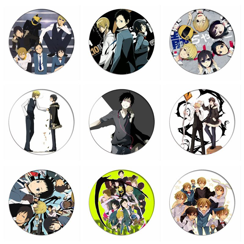 1pcs DRRR 3way Standoff DuRaRaRa!! Cosplay Badge Celty Sturluson Brooch Ryugamine Mikado Pins Collection Badges For Backpacks