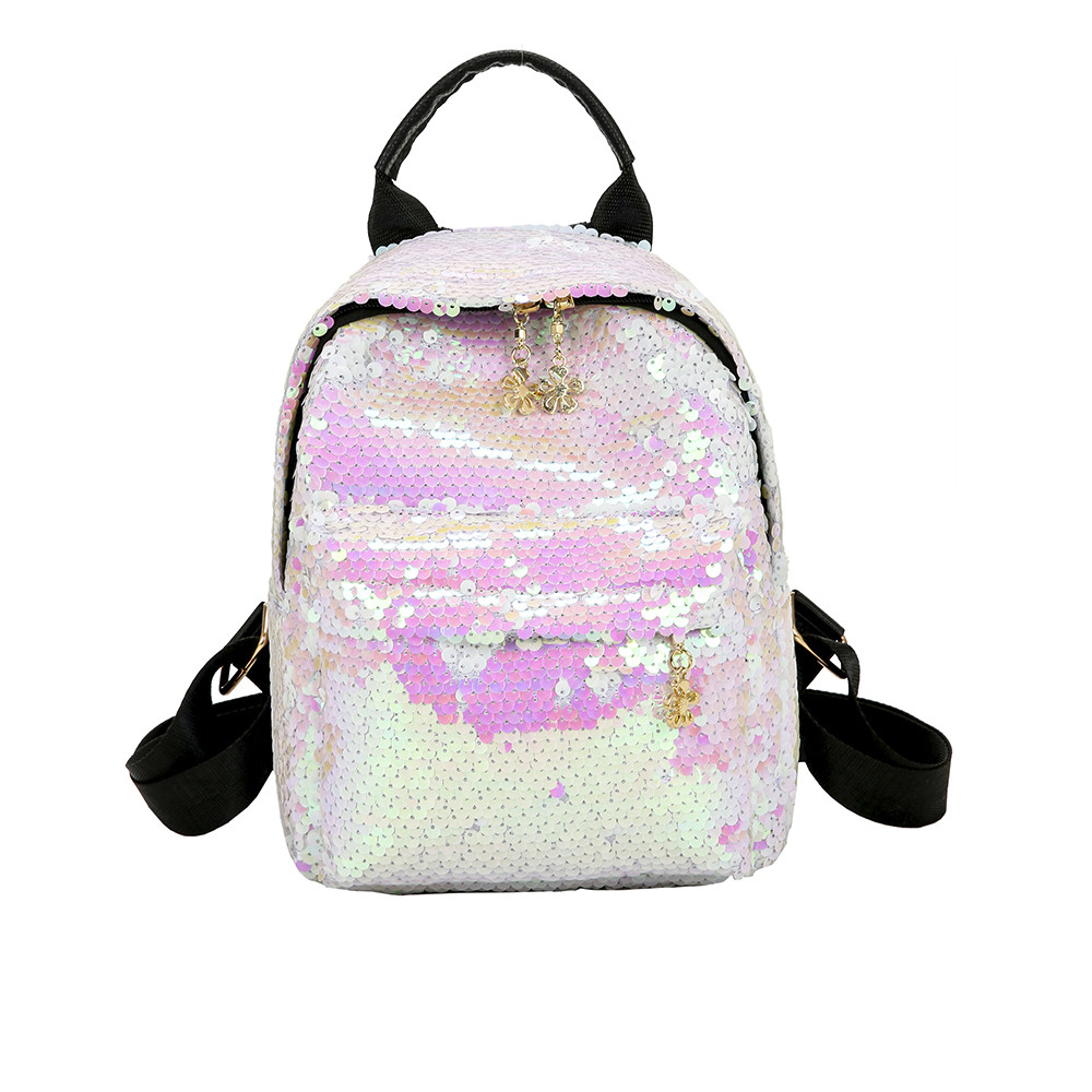 Preppy Style Women's Shinning Glitter Bling Backpack Preppy Style Sequins Travel Satchel School Backpack For Teenage