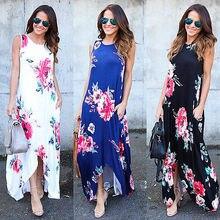 Женские цветочные длинное платье без рукавов с круглым вырезом и принтом Вечеринка Лето Пляжное платье