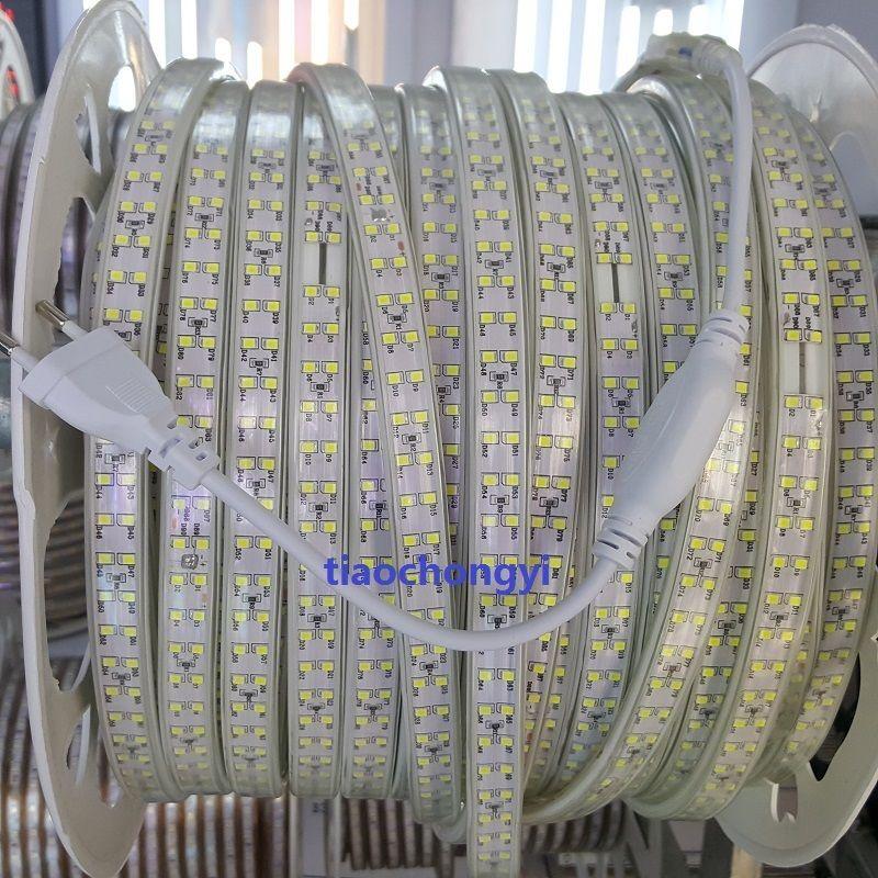 1-10 м 220 В 2835 теплый белый двухрядные Светодиодные ленты дюралайта Лампы для мотоциклов 180LED/m + плагин