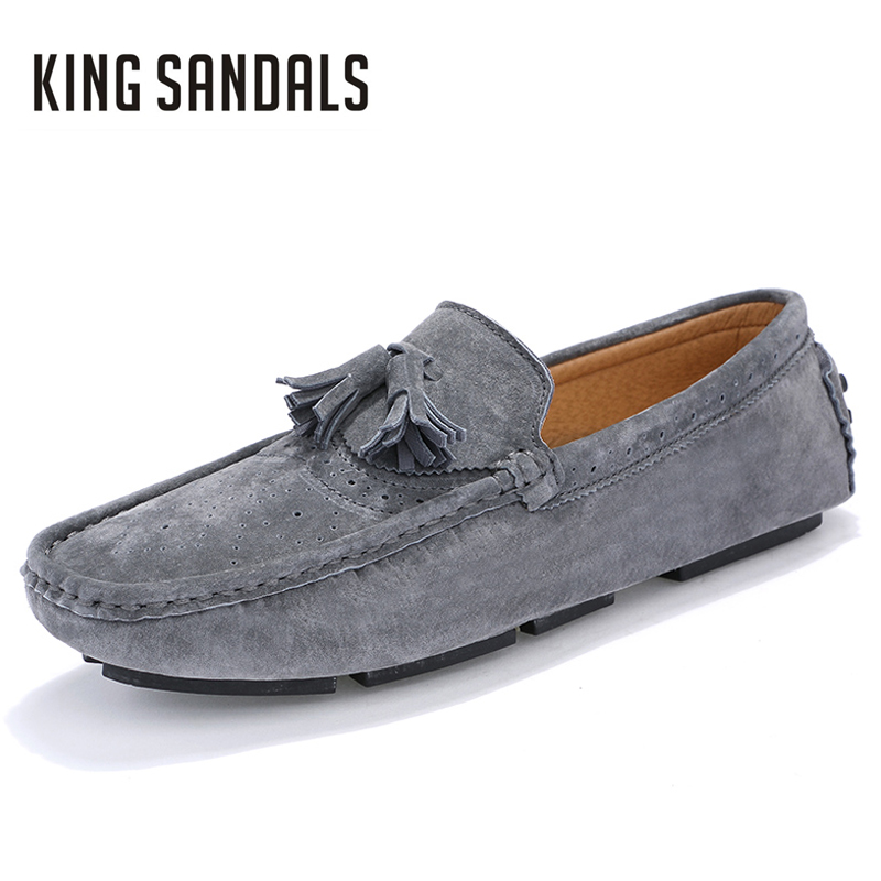 Men Flats Shoes Luxury Brand Slip-on Genuine Leather Comfortable Men's Casual Boat Driving Shoes For Men Wedding Party Shoes