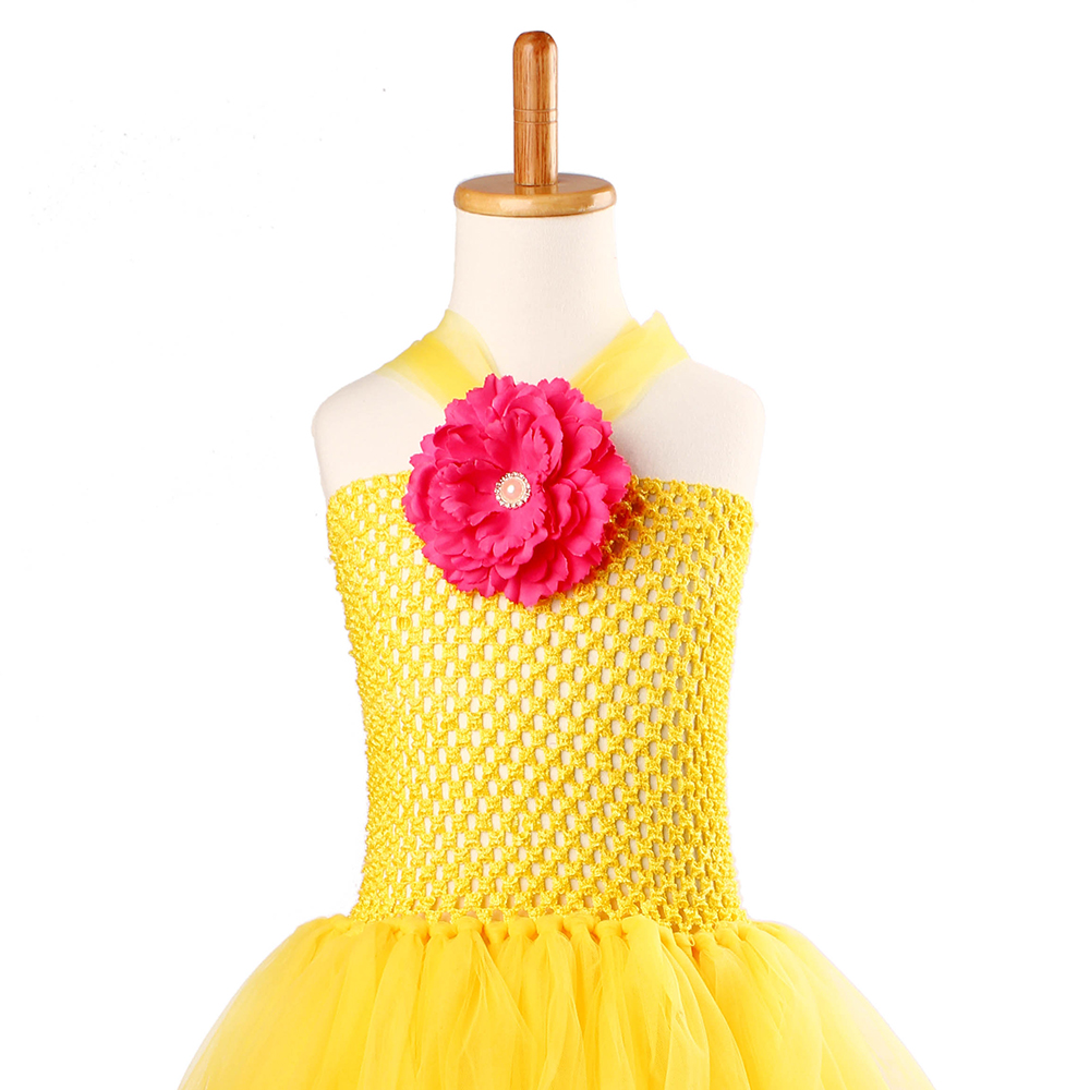 Yellow Princess Belle Tutu Dress The Beauty and the Beast Inspired Girls Birthday Party Dress Kids Photo Cosplay Costumes Vestidos (1)