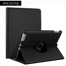 360 Degree Rotation Case For iPad 2 3 4 PU Leather Stand Cover For iPad2 iPad3 iPad4 With Smart Auto On/Off Funda Coque