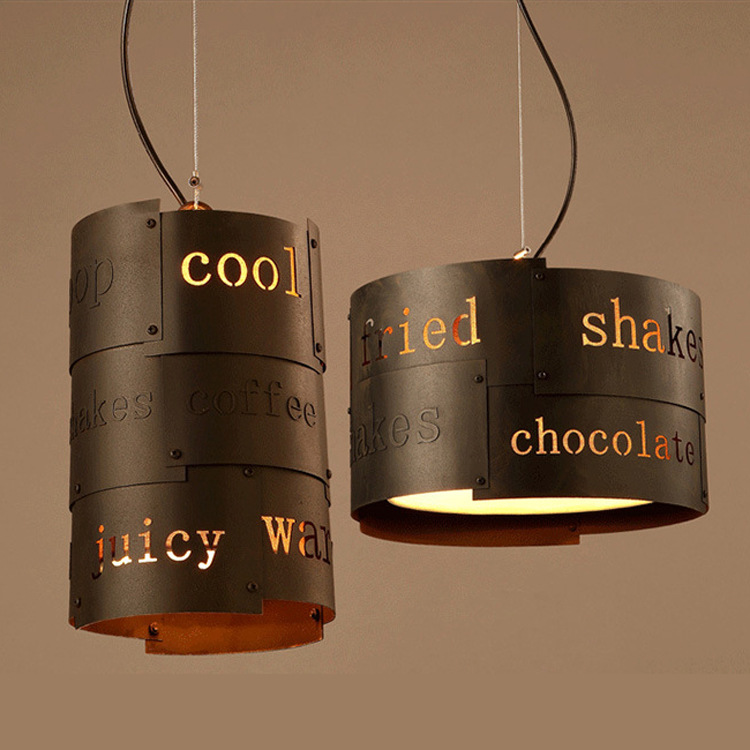 English letter Bar Cafe Nordic Retro industry Vintage Loft American industrial wind bar restaurant Iron Pendant Lights ZA loft iron lanterns pendant lights retro restaurant bar cafe hone lighting lamp industrial wind black cage pendant lamps za gy4
