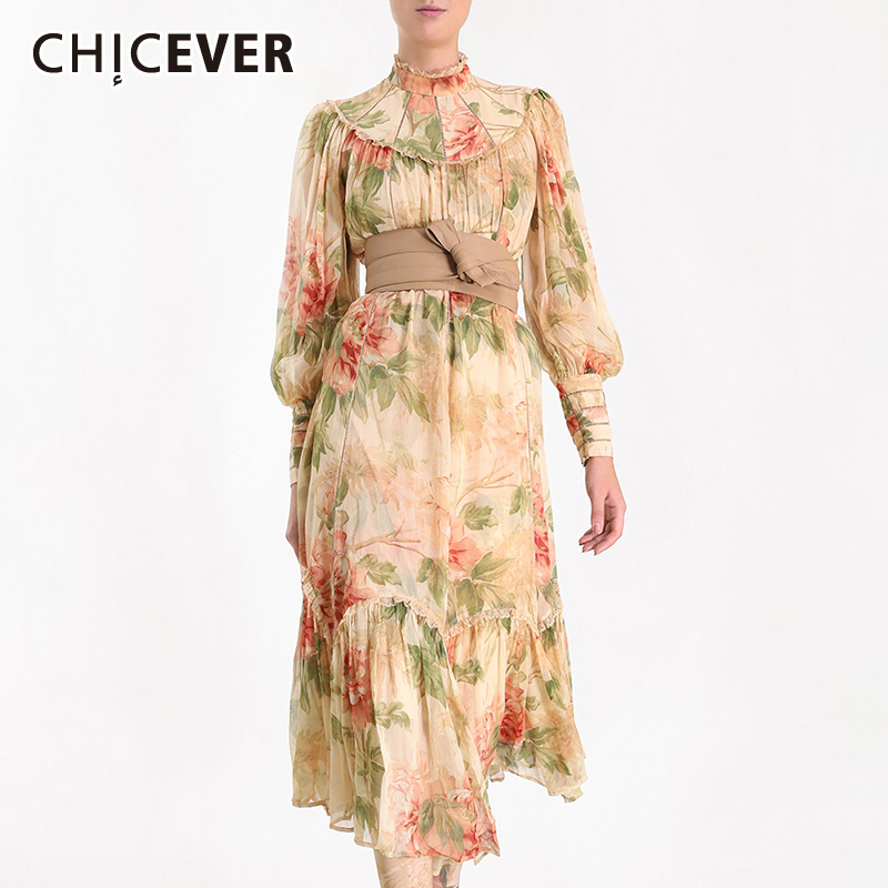 CHICEVER Korean Print A Line Women's Dress Stand Collar Lantern Sleeve Bandage Bow High Waist Dresses Female Fashion New Summer