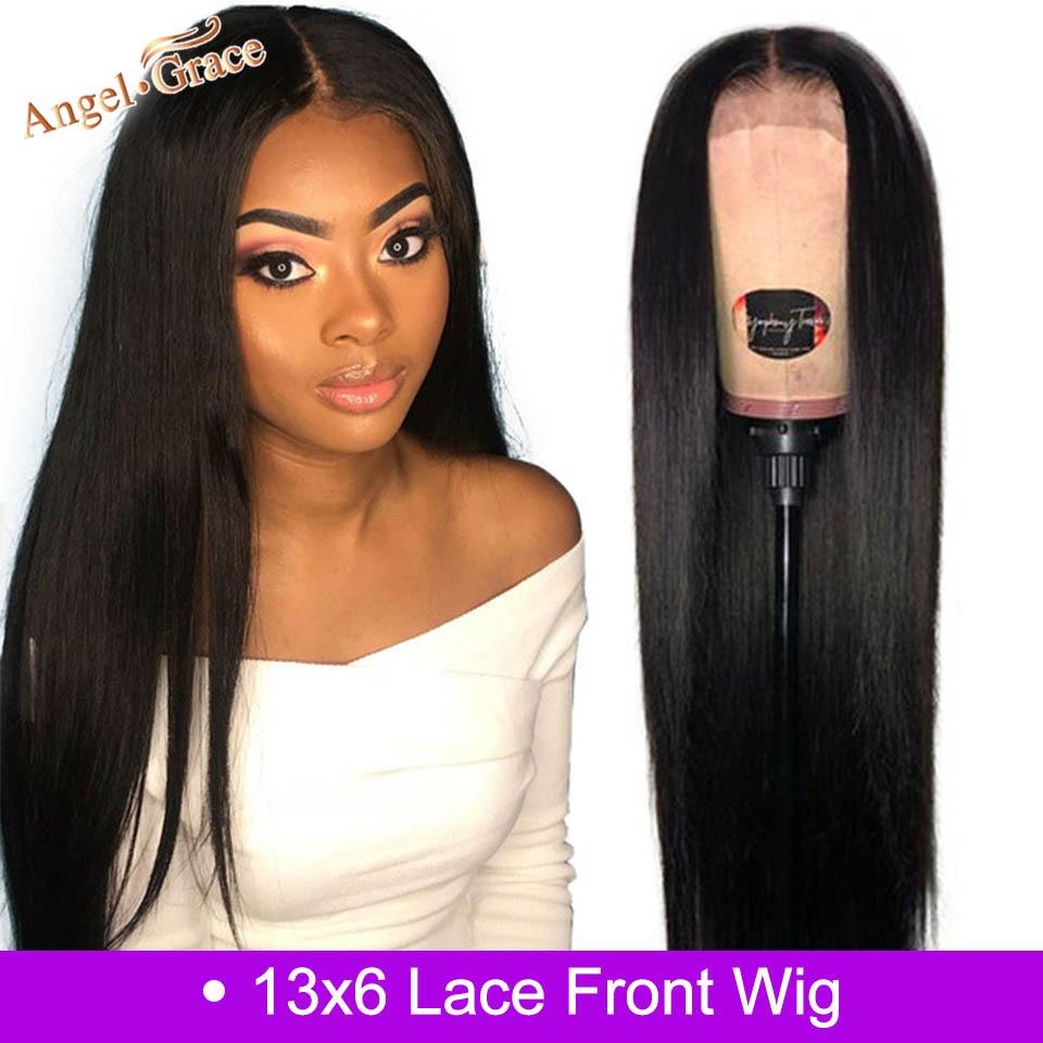 Angel Grace Hair 13x6 peluca con malla frontal cabello liso peruano encaje frontal pelucas de cabello humano Remy cabello prearrancado con pelo de bebé