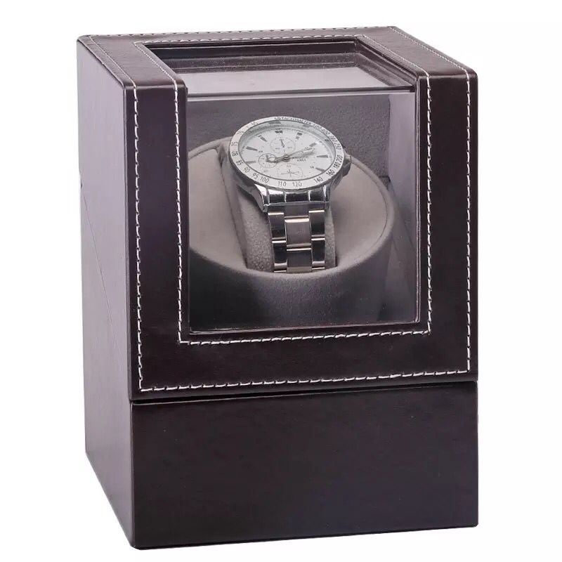 Automatic Mechanical Watch Winder Watch Box Leather Brown Mini High Class Motor Shaker Watch Holder Display Jewelry Box New 2019