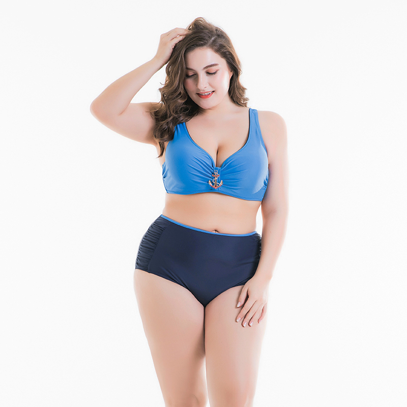Big Cup Bikini 2018 Plus Size Swimwear Solid Women Underwire Large Bathing Suits Beach Wear Vintage Padded mama size Bikini Set