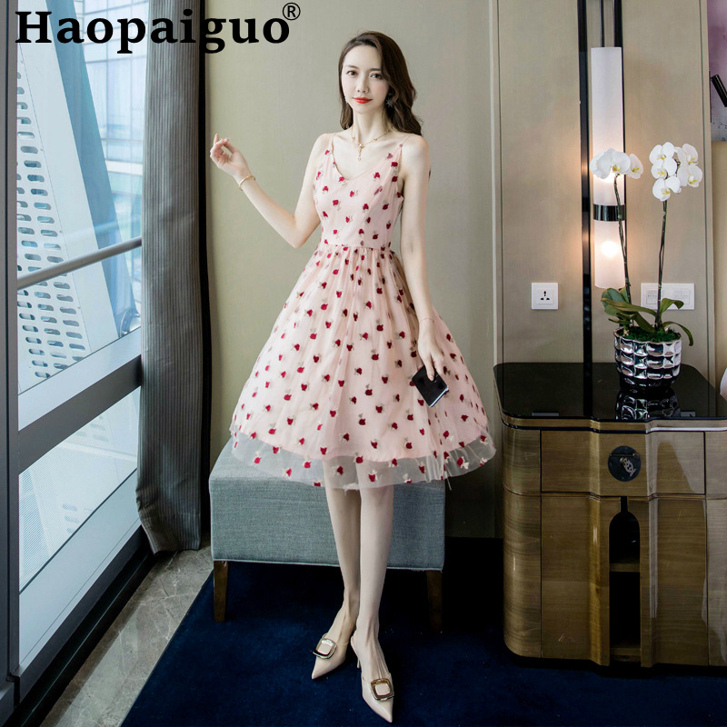 Big Size Embroidery Floral Dress Women Sleeveless Swing Korean Style A-line Casual Empire Flower Summer