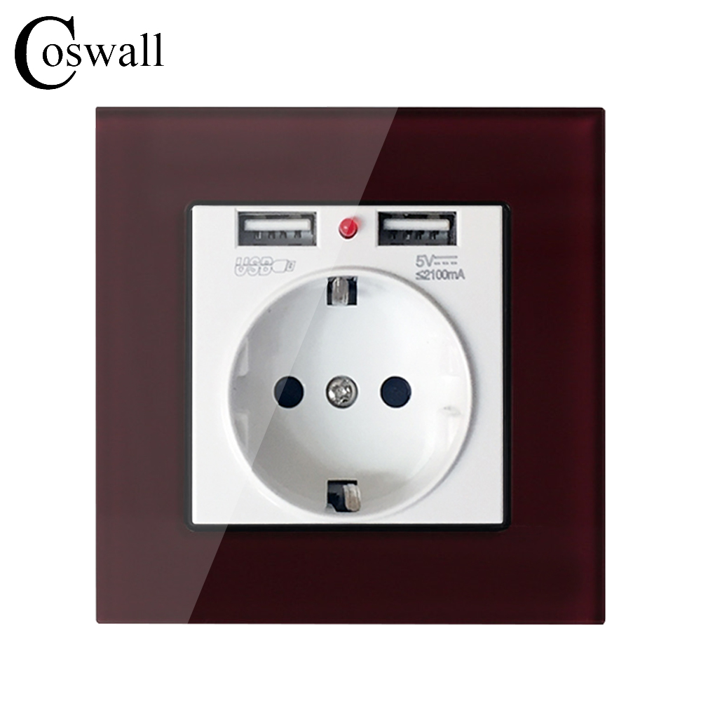 Coswall Crystal Glass Panel Dual USB Charging Port 2.1A Wall Charger Adapter 16A EU Socket Power Outlet Red Color