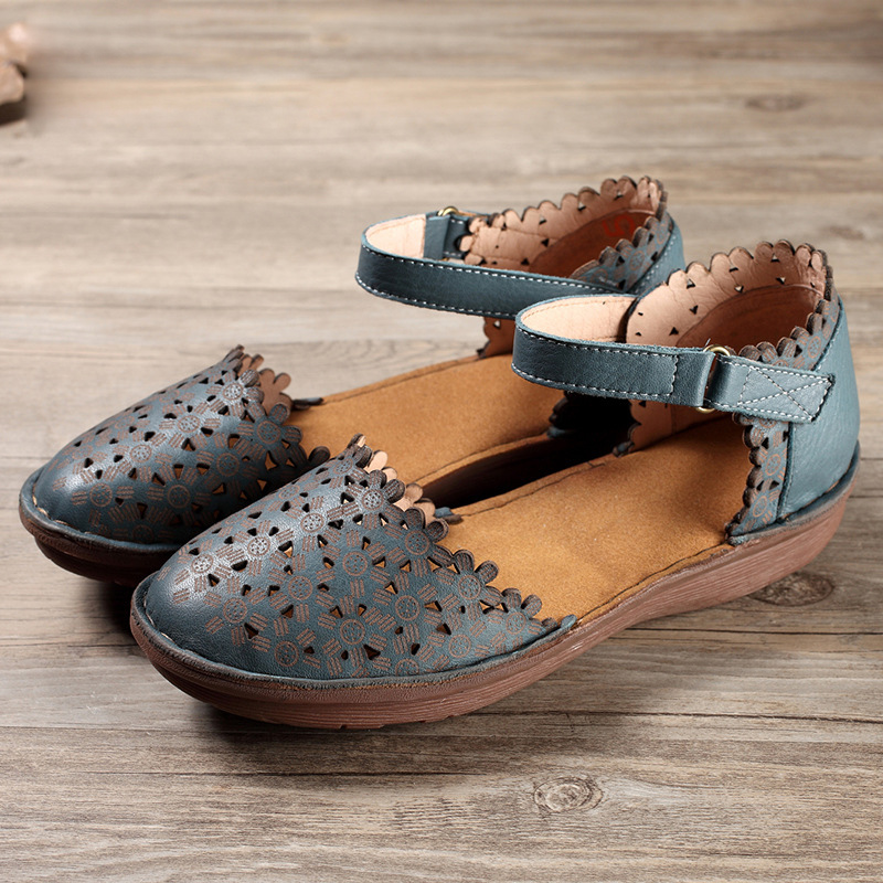 Summer Closed Toe Woman Sandals Cow Leather Hand Made -1217