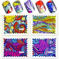 Neueste 10 Pcs Nagel Aufkleber Vintage Nagel Kunst Dekorationen Aufkleber Abstrakte Nail art Wasser Decals Voll Wraps Designs Decals