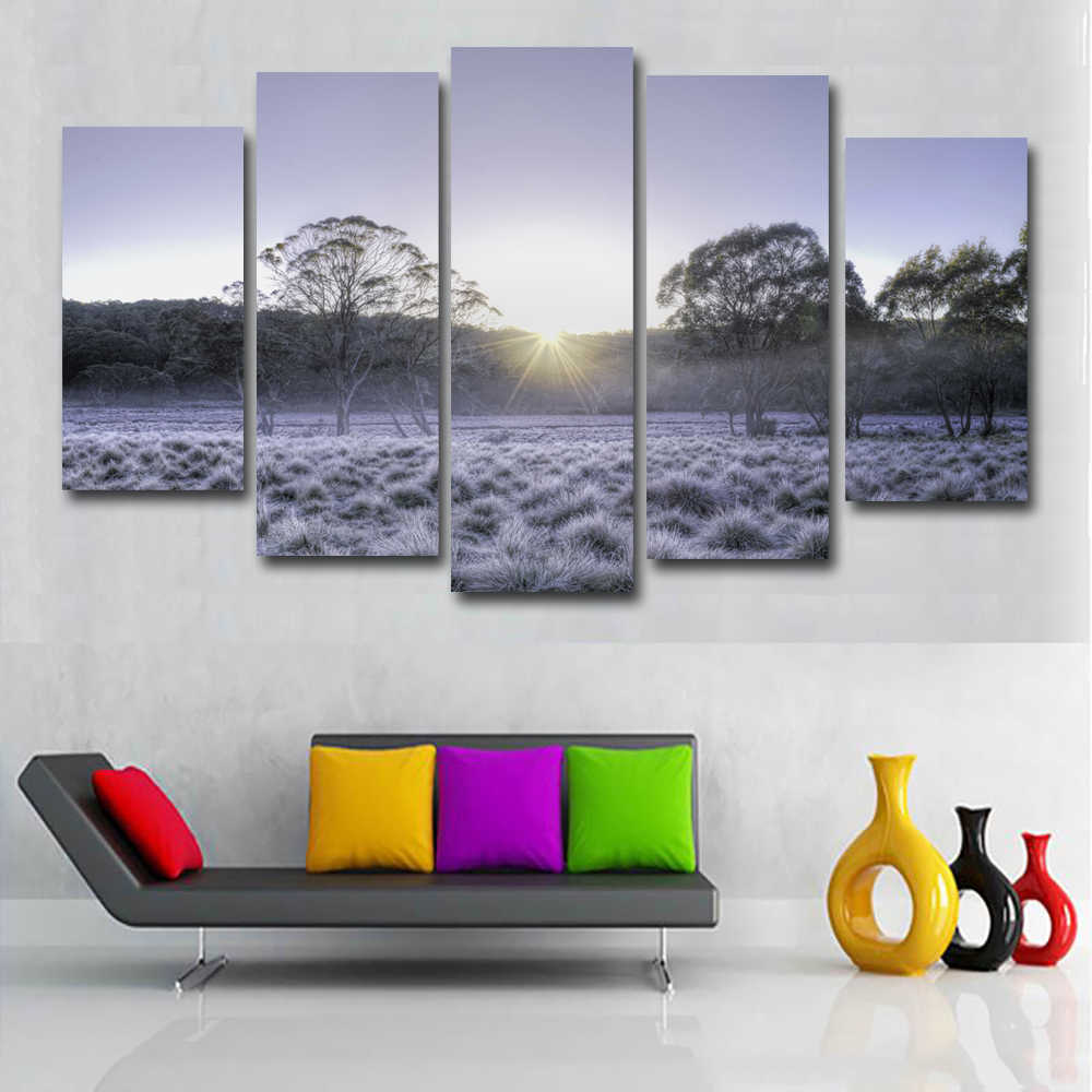 SELFLESSLY 5 Panels/Set Winter Tree Grass Landscape Painting Art Canvas Painting Posters Print On Canvas Wall Picture Home decor