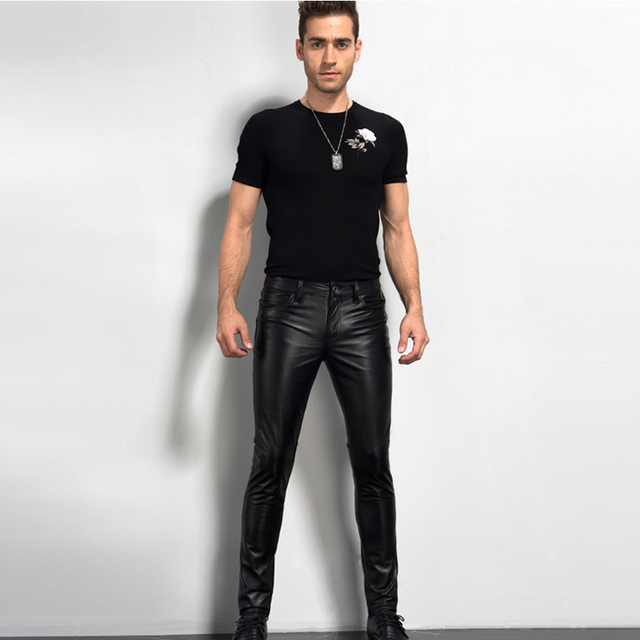 Men's Leather Pant Biker Pants Motorcycle Punk Rock Pants Tight Gothic Leather Pants  Slick Smooth Shiny Trousers Sexiest TJ01 3