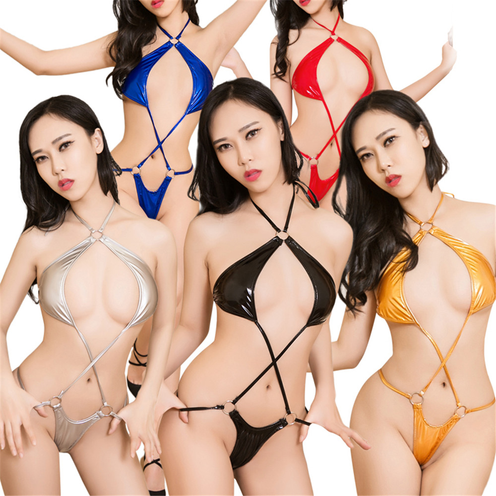 Bright color String Sling neck Frenulum erotic micro bikini extreme body sexy lingerie porno latex catsuit bodystocking lenceria