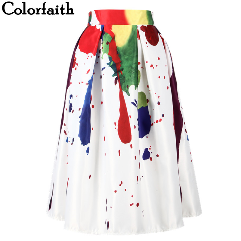 Energetic 2016 Spring Summer New Ladies Elegant Fashion Graffiti Print Painting High Waist Midi Skirt Holiday Wear Saia Femininas Sk083