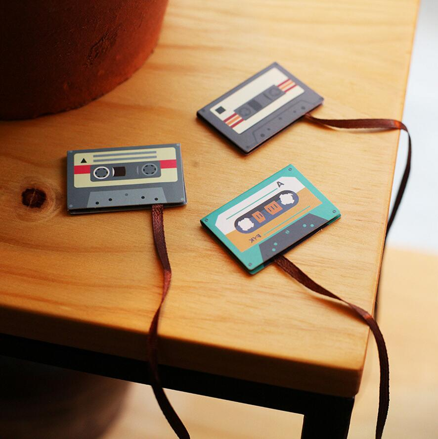 12 Pcs/Lot Cartoon Cassette Tape Bookmark Cute Animal Mini Magnetic Bookmarks Magnet Marcapaginas Stationery School Supplies1662