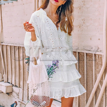 CUERLY Elegant hollow out white dress women 2019 Summer embroidery ruffles lace up dresses Casual streetwear bodycon