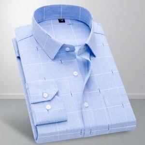 Image 3 - 2019 New VISADA JAUNA Fashion Casual Men Shirt Slim Fit Long Sleeve Male Shirt Printed Plaid Business Shirts Dress Camisas Homme