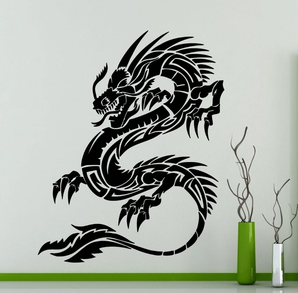 Bezaubernd Wandtattoo Drachen Sammlung Von Chinesischen Stil Tribal Tier Vinyl Aufkleber Home