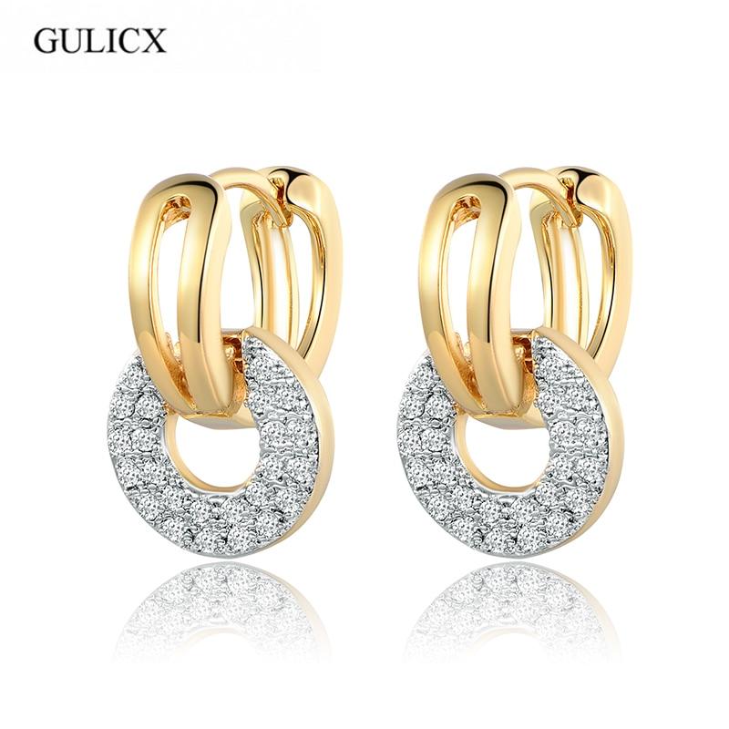 GULICX Coin Shape Zircon Crystal Hoop Earrings for Women Ear Jewelry Brincos Luxury Gold Color Earring Fashion Wedding E219