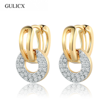 GULICX Brand 2016 Unique Round Drop Piercing Small Huggie Hoop Earring for Women 18k Gold Plated Earing Round CZ Jewelry E219
