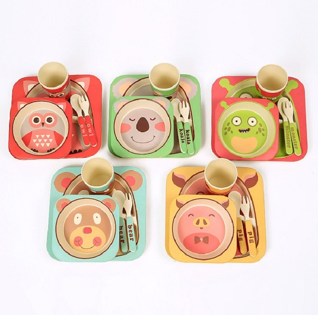 Bamboo fiber square kids tableware Environmental food dinnerware set of 5pcs with animals printing Feeding set & Bamboo fiber square kids tableware Environmental food dinnerware set ...
