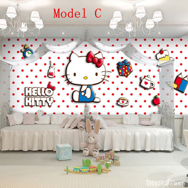 Hot Hello Kitty Photo Wallpaper Catoon Non Woven Wall Mural For Kids