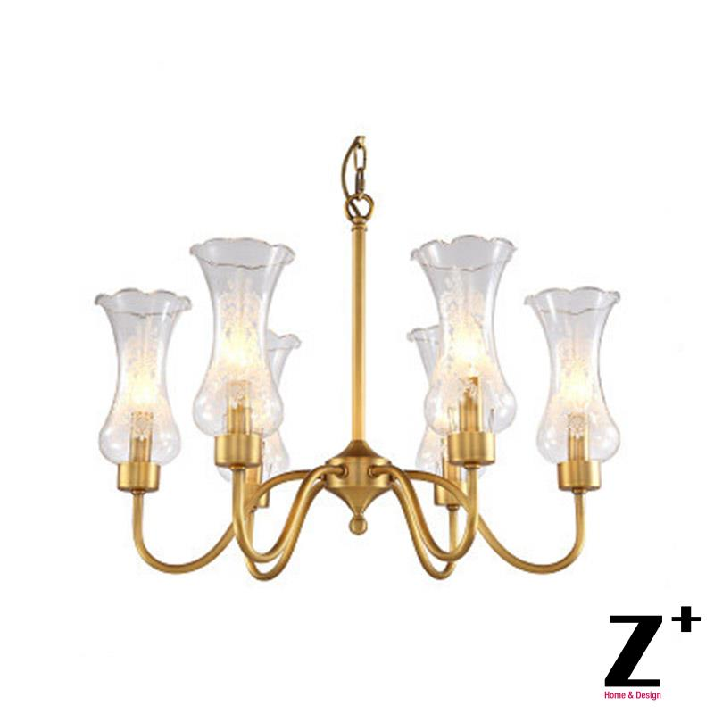 New Classical Vintage Brass Copper Chandelier with Glass Lampshade Freeshipping