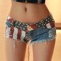 2016 Mulheres Verão Sexy Listra Americano EUA Bandeira Imprimir Mini Calças de Brim Shorts Jeans