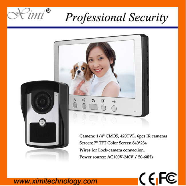цены Waterproof samrt Home Interface hands-free 7 inch color video door phone with IR night version IR camera video door phone