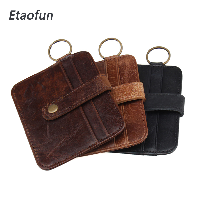 Etaofun fashion brand cow genuine leather cards holder Credit Card Organizer Case Men mini hasp wallets Dollar Bag with keychain hot sale 2015 harrms famous brand men s leather wallet with credit card holder in dollar price and free shipping