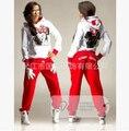 O Envio gratuito de 2015 Primavera Outono conjunto Camisola Meninas Dos Desenhos Animados minnie Mouse impresso Terno Fatos de Treino Mulheres Hoodies e calças