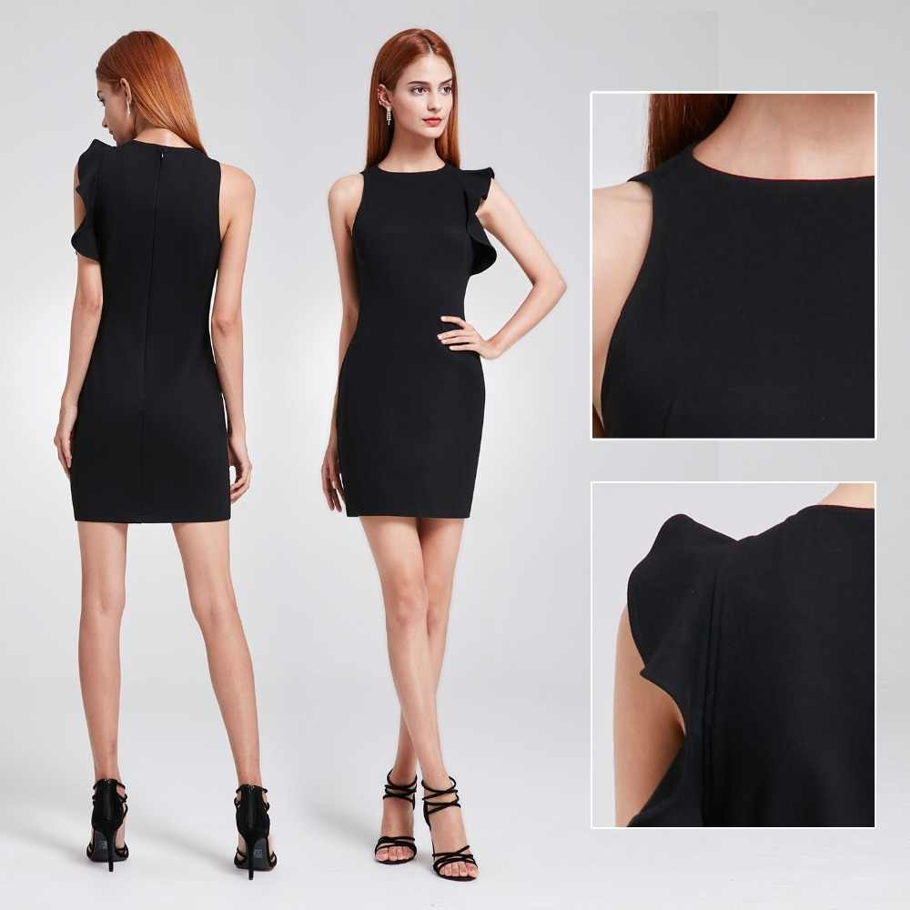 5901b52a2da Маленький чёрное коктейльное платье 2018 когда либо довольно EP05903BK  Сексуальная Русалка О образным вырезом без рукавов