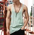 2016 nova homens Stringer Singlet Fitness Musculação Regatas Vest Cotton Undershirt homem Camisa Sem Mangas sólida