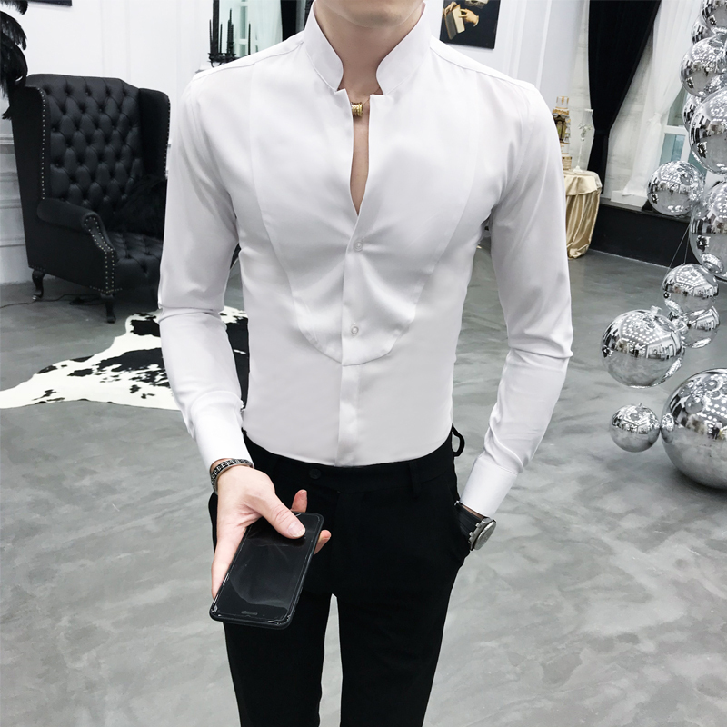 Sexy Unique Stand Collar Shirt Black Red White Slim Fit Long Sleeve Camisa Social Masculina Men Dress Designer Shirt