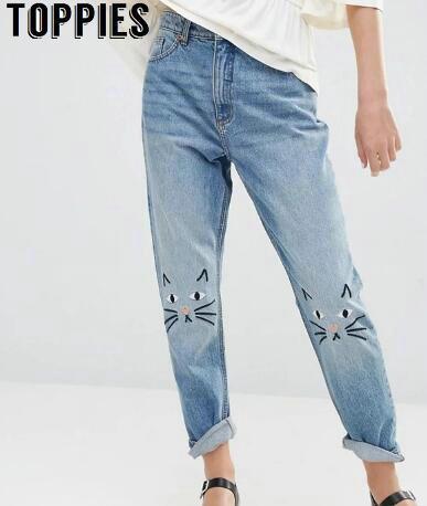 החבר ג 'ינס לנשים וינטג במצוקה ג' ינס רקמת חתול גבוהה מותן ינס מכנסיים ג 'ינס אמא PT037