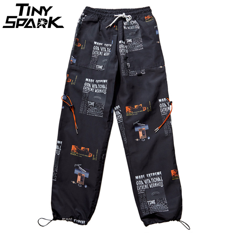2019 Summer Joggers Hip Hip Pant Star Print Men Harajuku Sweatpant Streetwear Fashion Casual Track Pants Sweat Trousers White(China)
