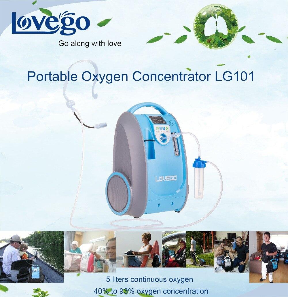 Dos años de garantía 1-5LPM Lovego concentrador de oxígeno portátil/generador de oxígeno/mini concentrador LG101 para casa/Viajes/ uso del coche